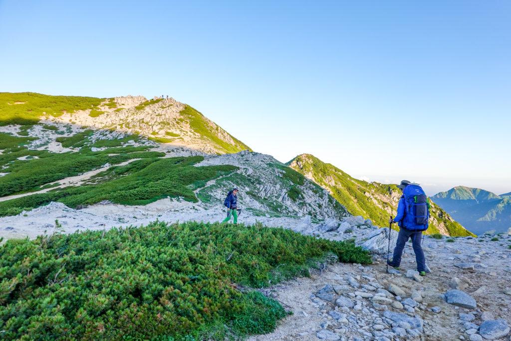 裏銀座・稜線コースとお花畑コースの分岐