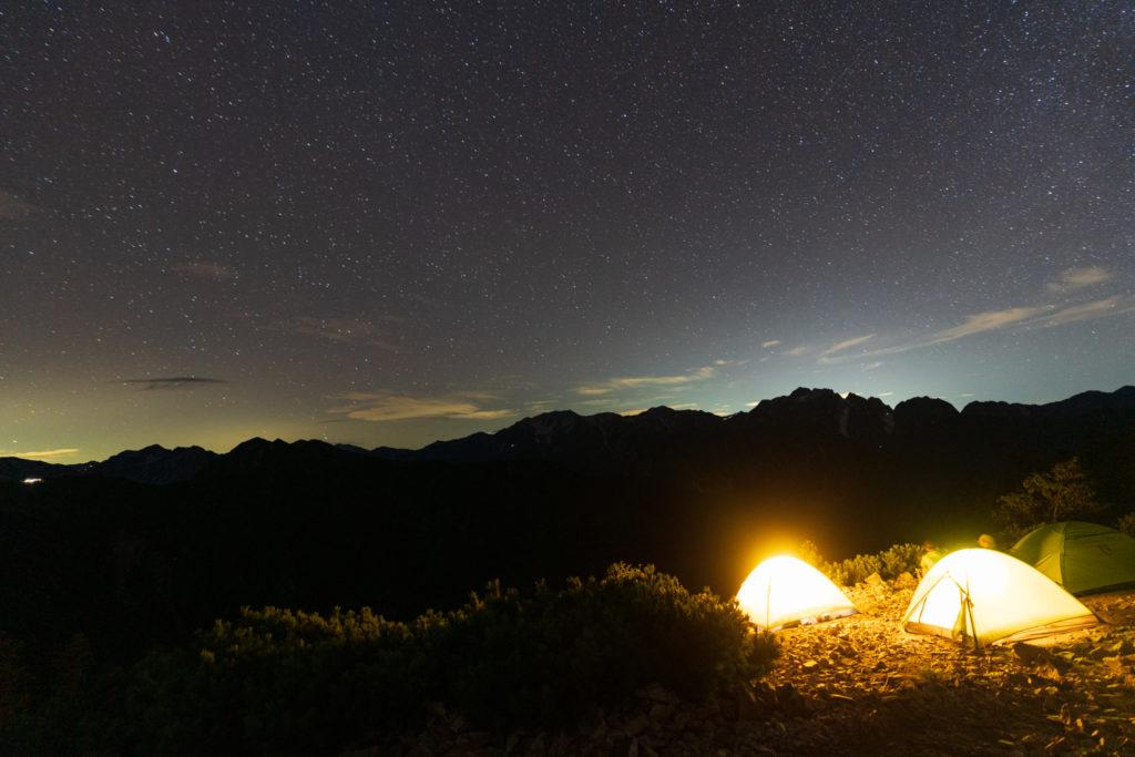 鹿島槍ヶ岳・爺ヶ岳・はじめての夜空の写真