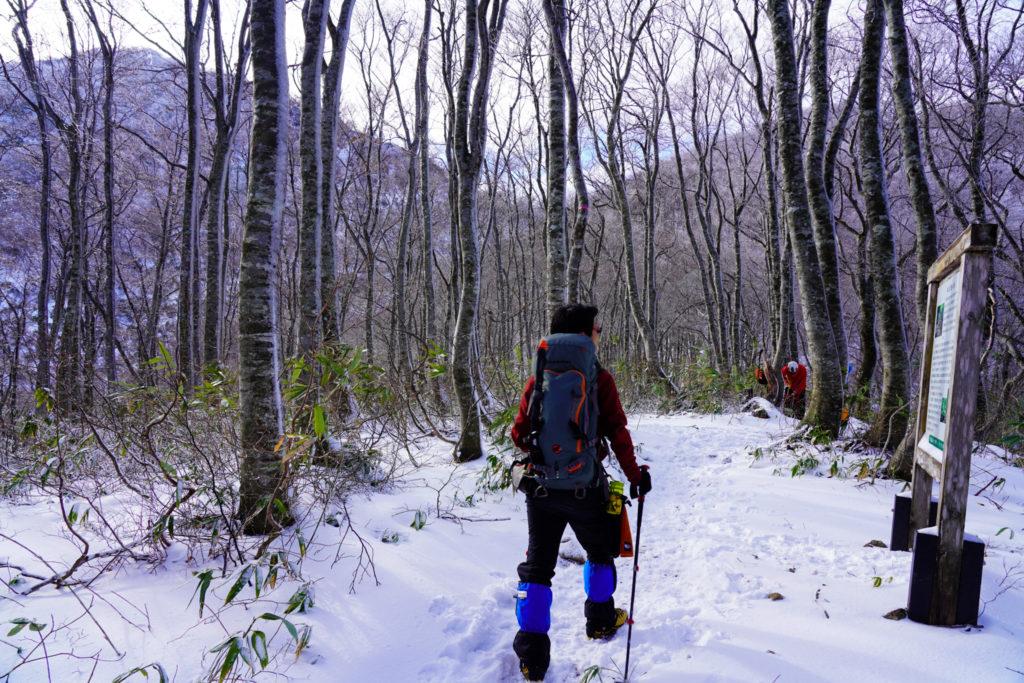 積雪期・荒島岳・勝原コース・絆と友愛の森