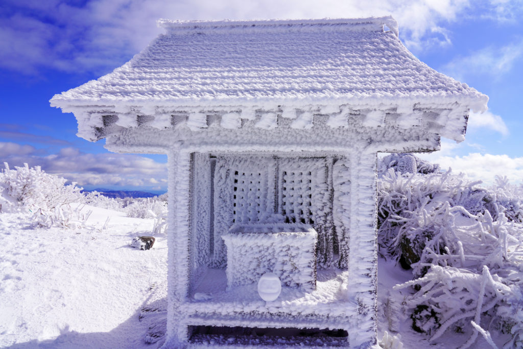 積雪期・荒島岳・荒島岳神社と雪だるま