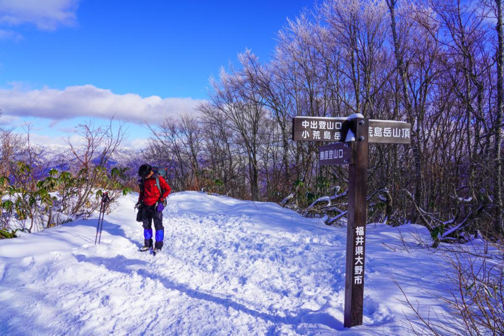 積雪期・荒島岳・三度、シャクナゲ平