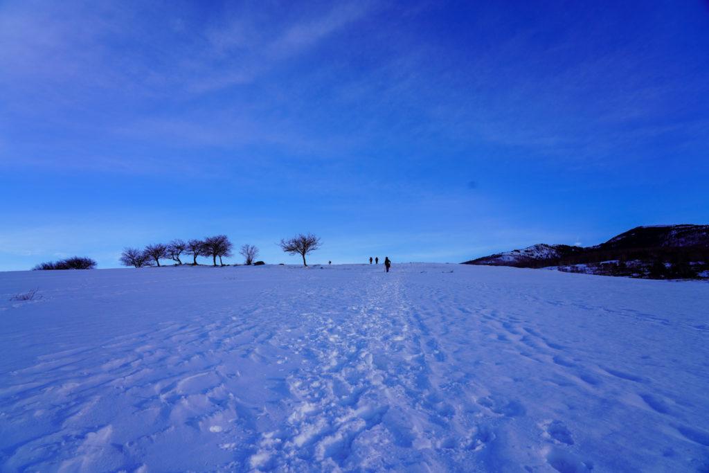 厳冬期・四阿山・広大な牧草地