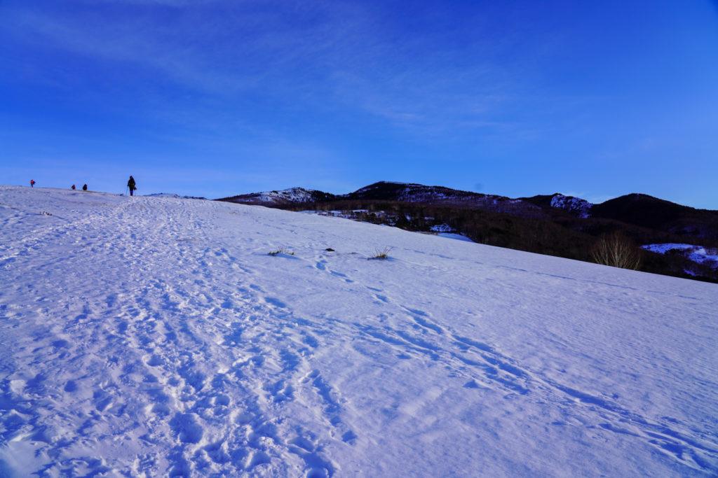 厳冬期・四阿山・雪原を渡る