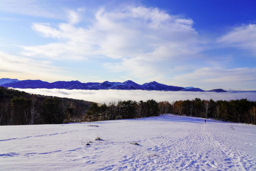 厳冬期・四阿山・湯ノ丸、高峰高原の山々と浅間山