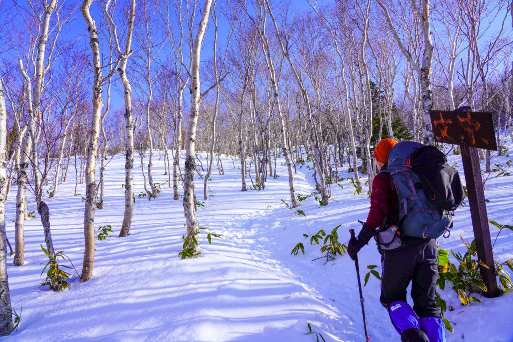 厳冬期・四阿山・里宮を越えたあたりから登りがキツくなります