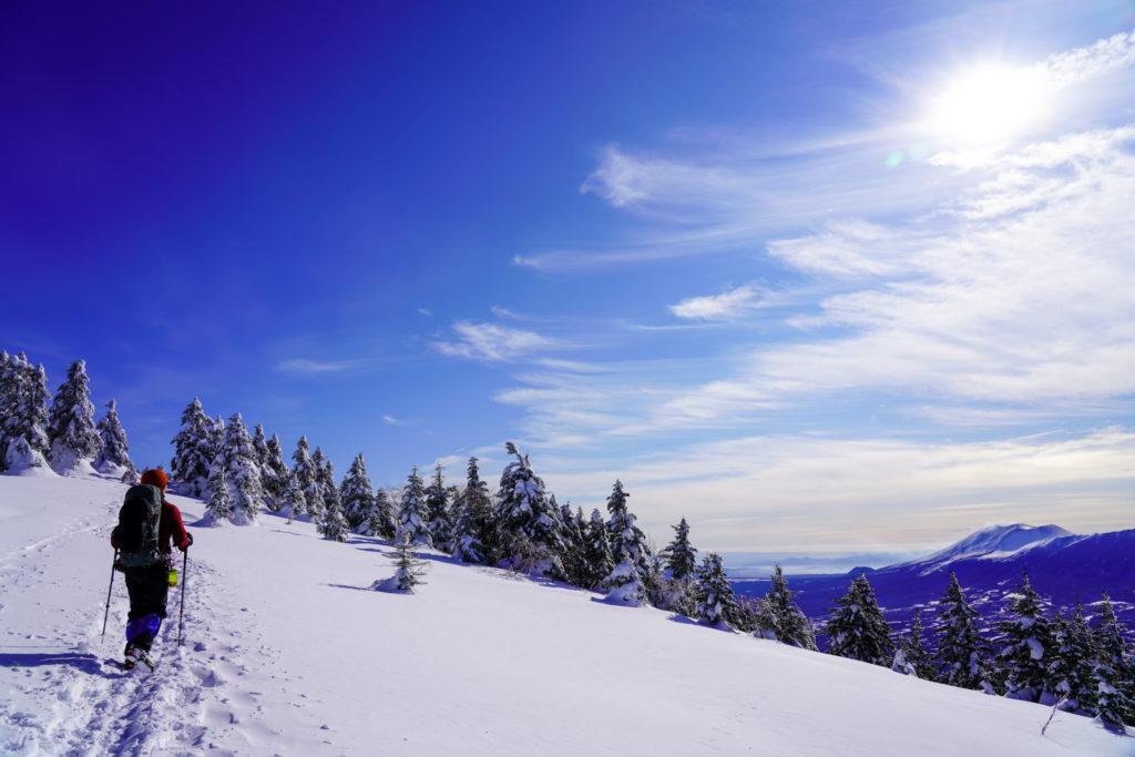 厳冬期・四阿山・浅間山眺めながら山頂へ