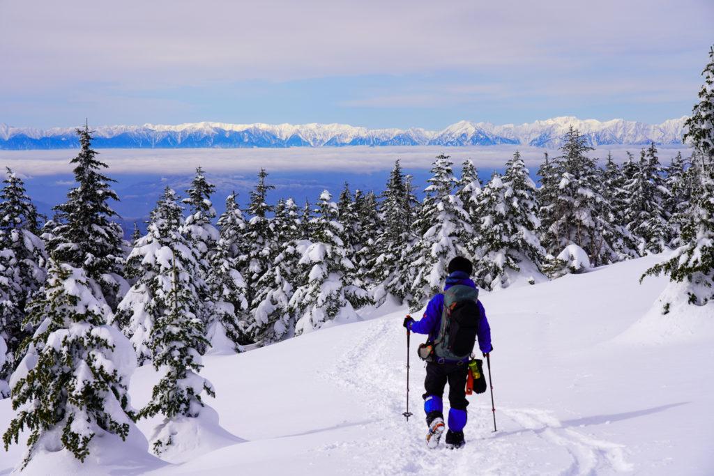 厳冬期・四阿山・北アルプスの山々