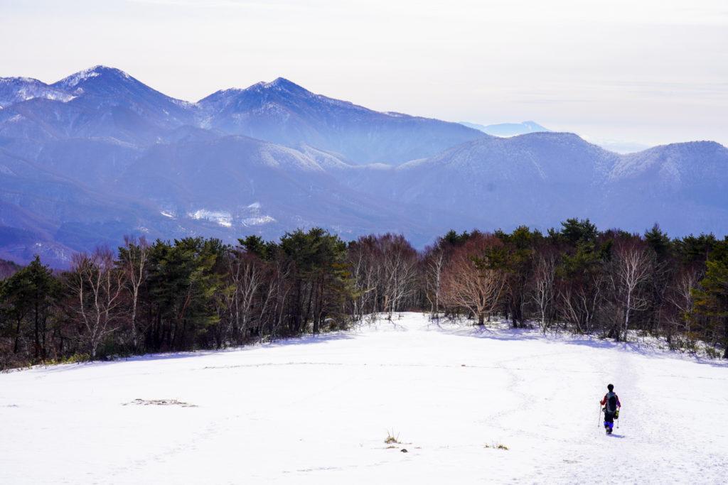 厳冬期・四阿山・雪原を歩く