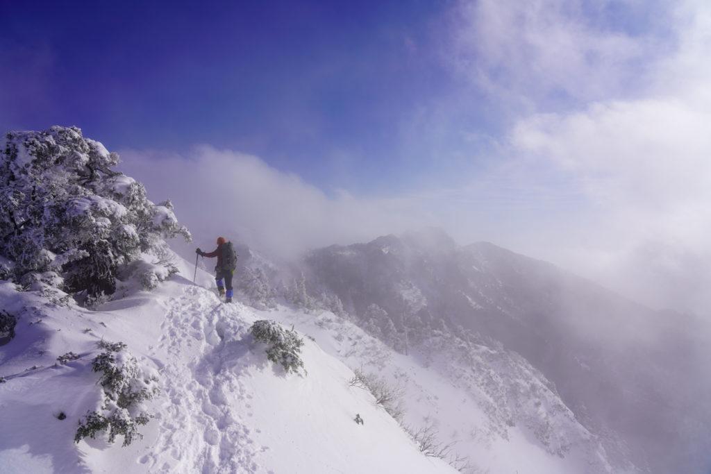 厳冬期・武尊山・剣ヶ峰山・前武尊山は雲の中