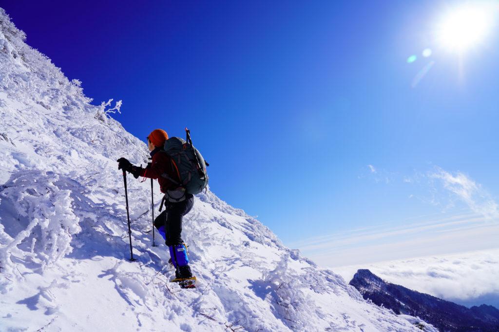 厳冬期・武尊山・剣ヶ峰山・武尊の壁を登る