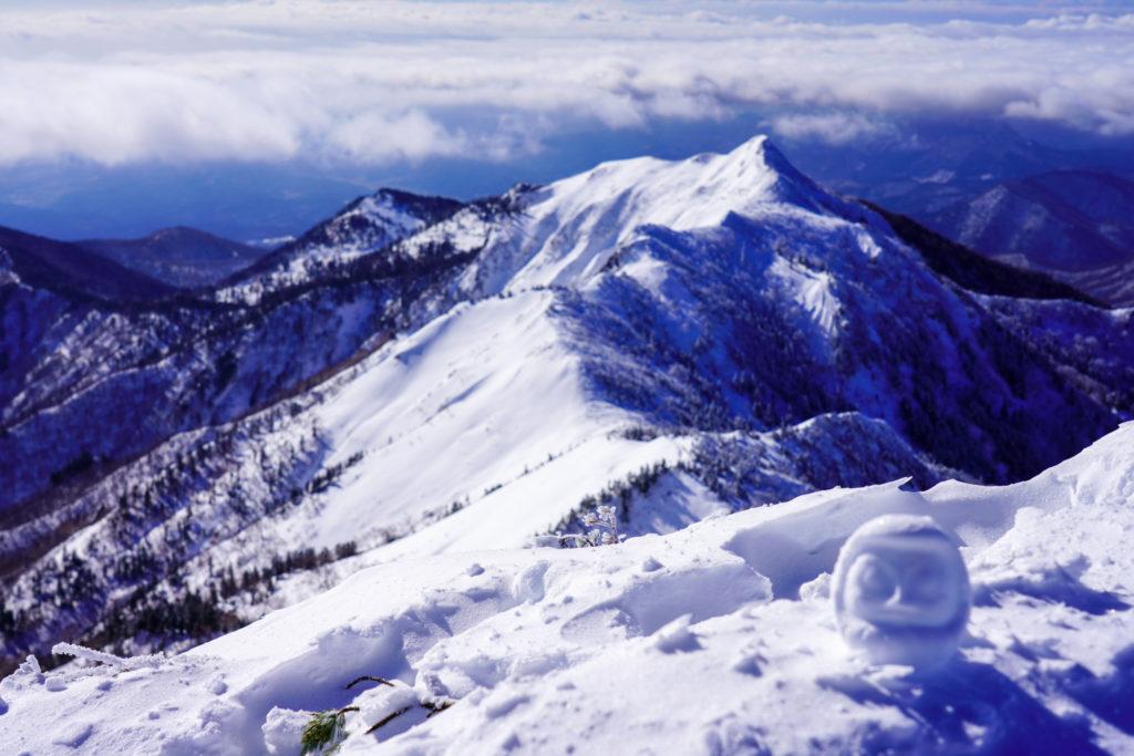 厳冬期・武尊山・剣ヶ峰山・恒例の雪だるま
