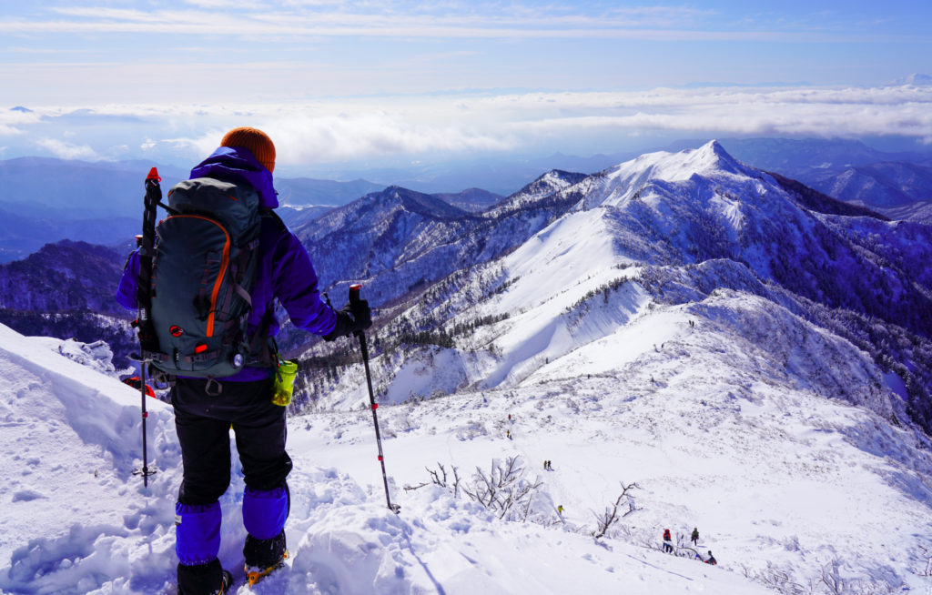 厳冬期・武尊山・剣ヶ峰山・剣ヶ峰山へ下山を開始