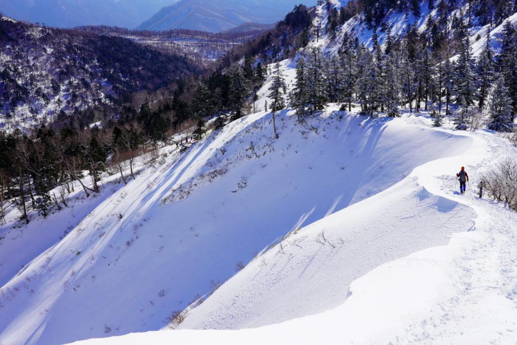 厳冬期・武尊山・剣ヶ峰山・川場スキー場へ下山、その2