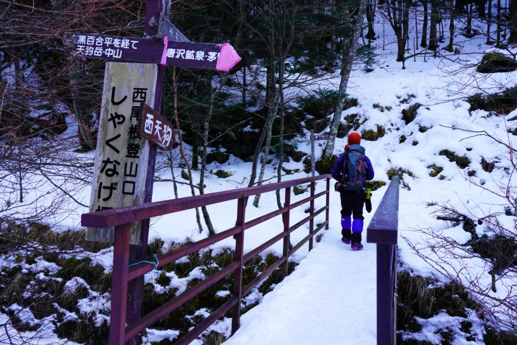 厳冬期・天狗岳・西尾根登山口・しゃくなげ橋