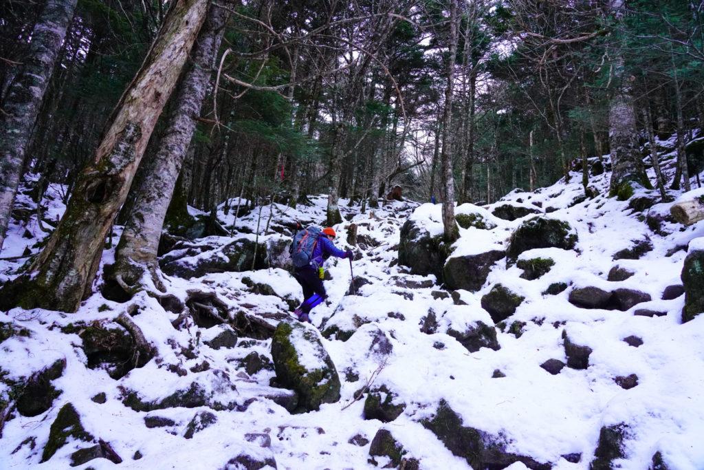 厳冬期・天狗岳・西尾根登山口