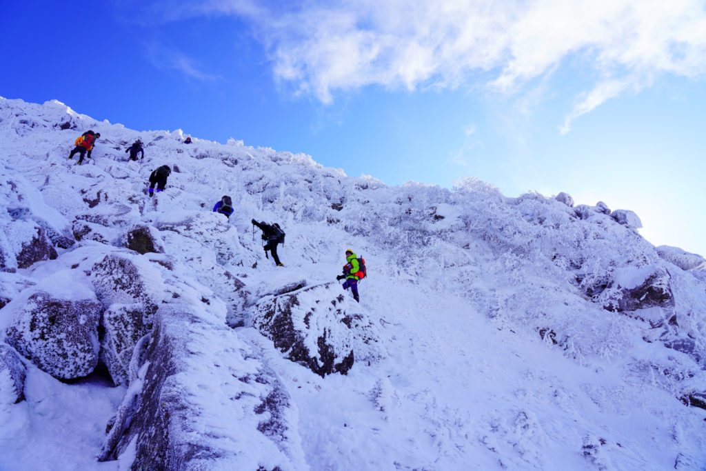 厳冬期・天狗岳・西天狗への最後の登り2