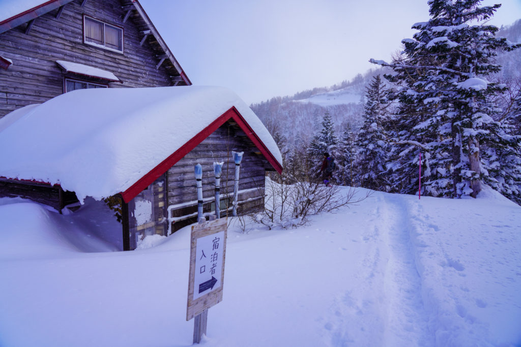厳冬期・乗鞍岳・入り口コチラ位ヶ原山荘