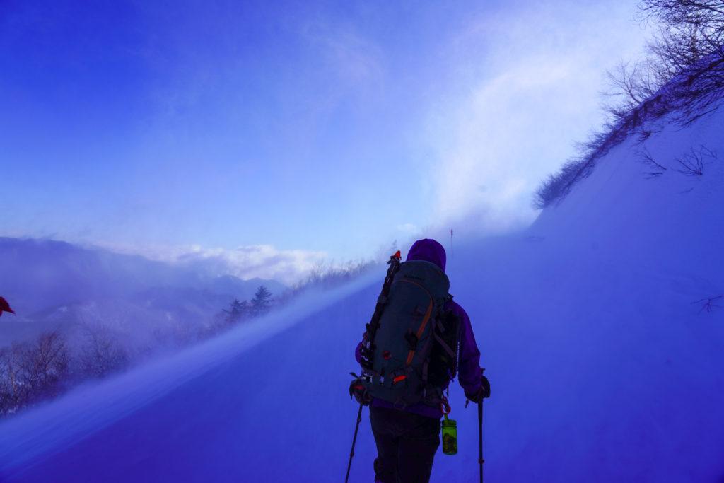 厳冬期・乗鞍岳・爆風です