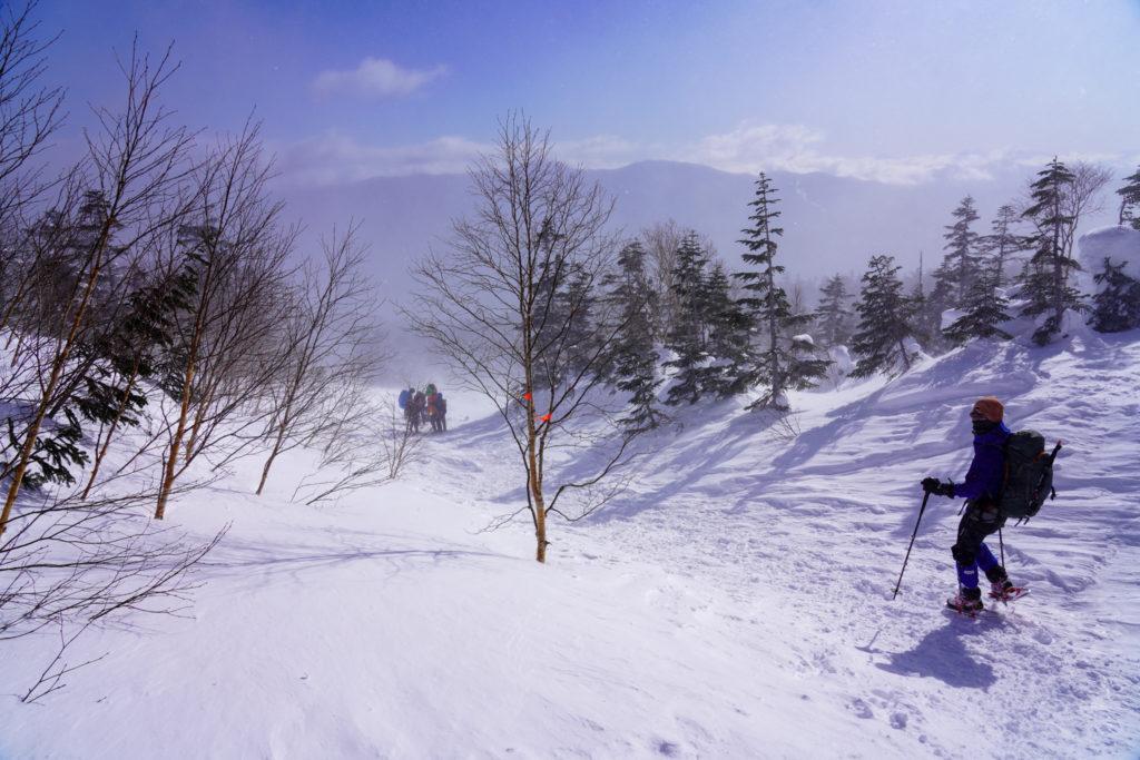 厳冬期・乗鞍岳・撤退開始