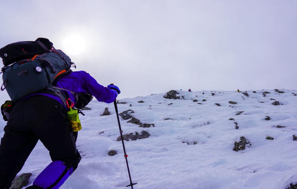 厳冬期・乗鞍岳・朝日岳を直登、今日一番の難所