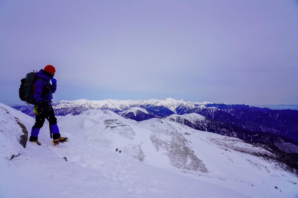 厳冬期・乗鞍岳・朝日岳から剣ヶ峰へ