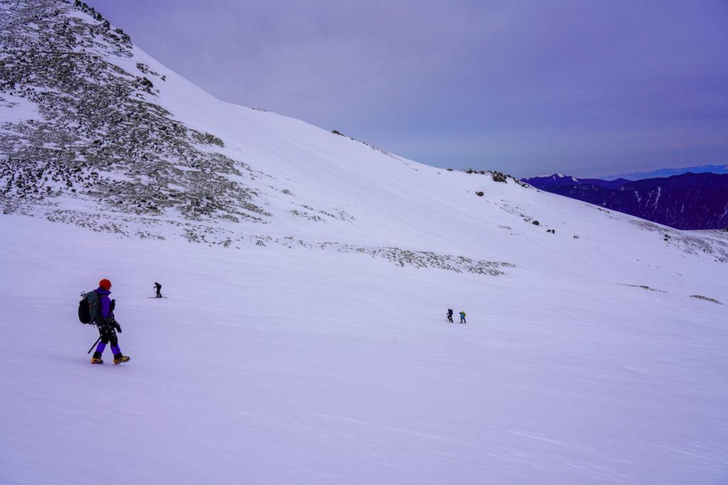厳冬期・乗鞍岳・位ヶ原下山中