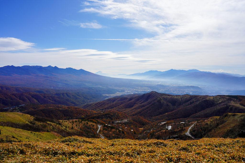 霧ヶ峰・霧ヶ峰高原車山山頂からの展望、富士山方面