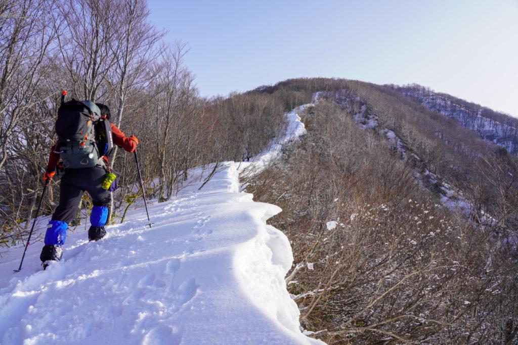 残雪期・東谷山・日白山・小雪庇の稜線