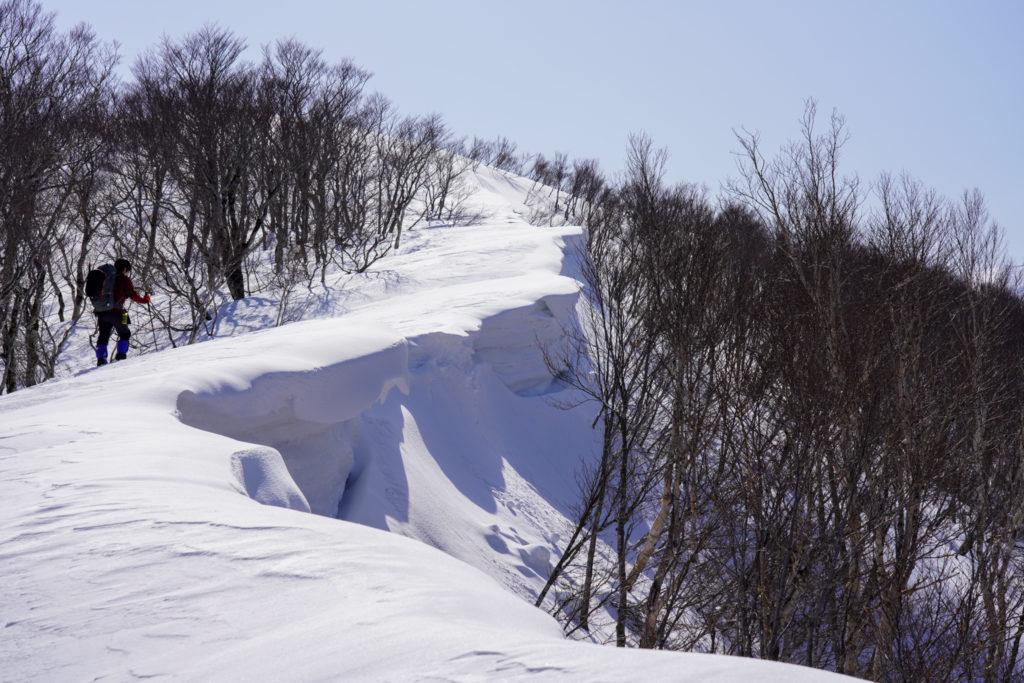 残雪期・東谷山・日白山・東谷山から日白山へと続く雪庇の稜線、その3