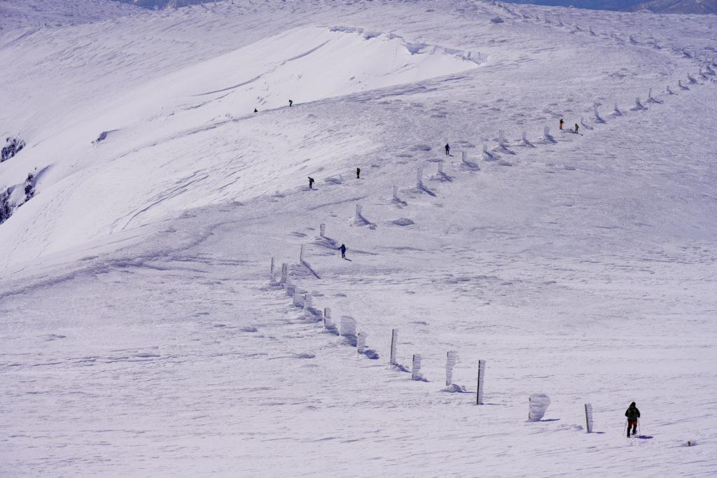 残雪期・蔵王山(熊野岳・刈田岳)・どこまでも続く木柱
