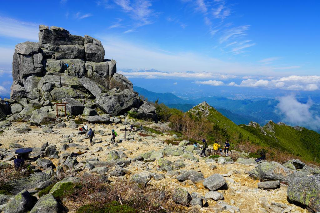 金峰山・五丈石とこれまで歩いた岩稜帯