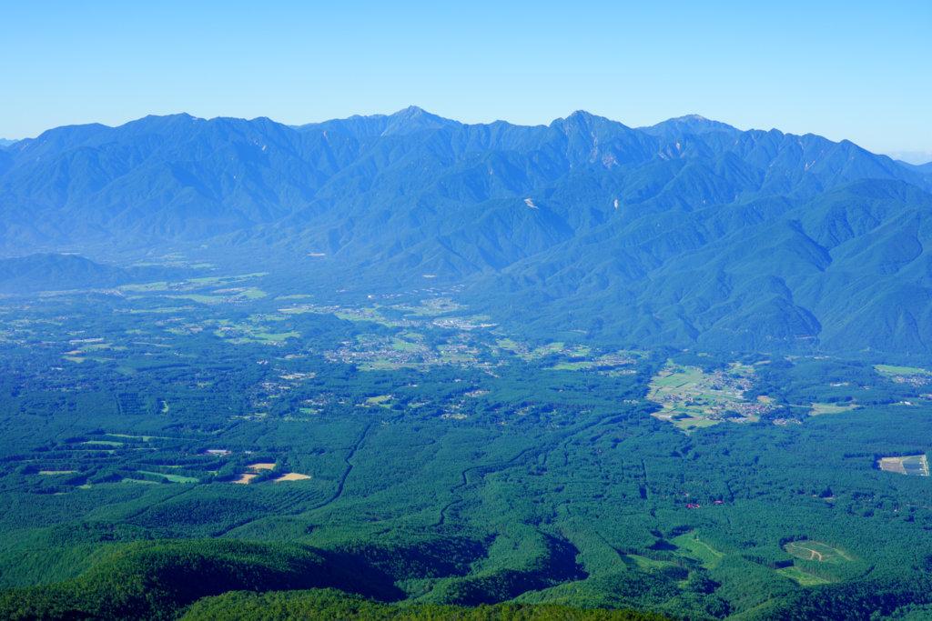 編笠山・権現岳・三ツ頭・編笠山山頂から見える南アルプス