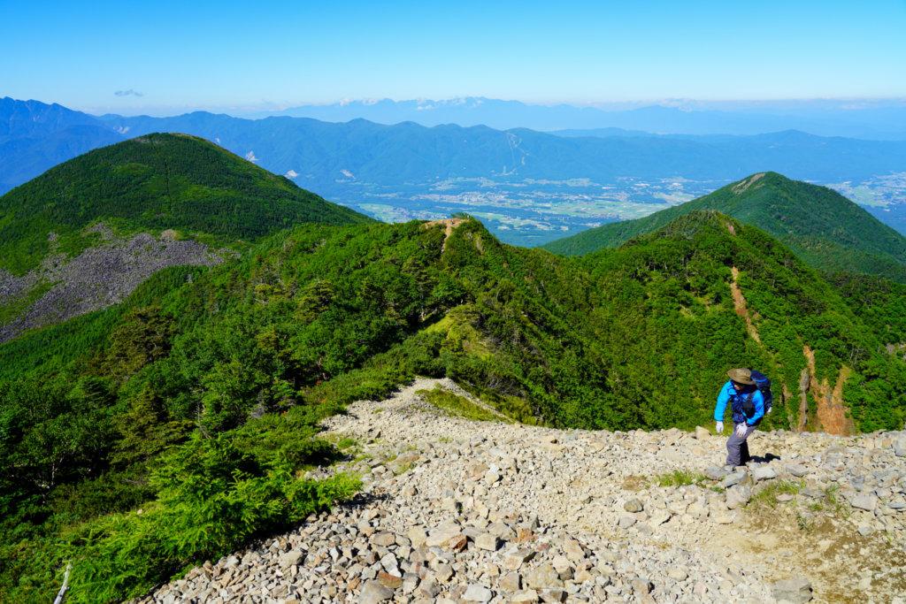 編笠山・権現岳・三ツ頭・編笠山(左)と西岳(右)