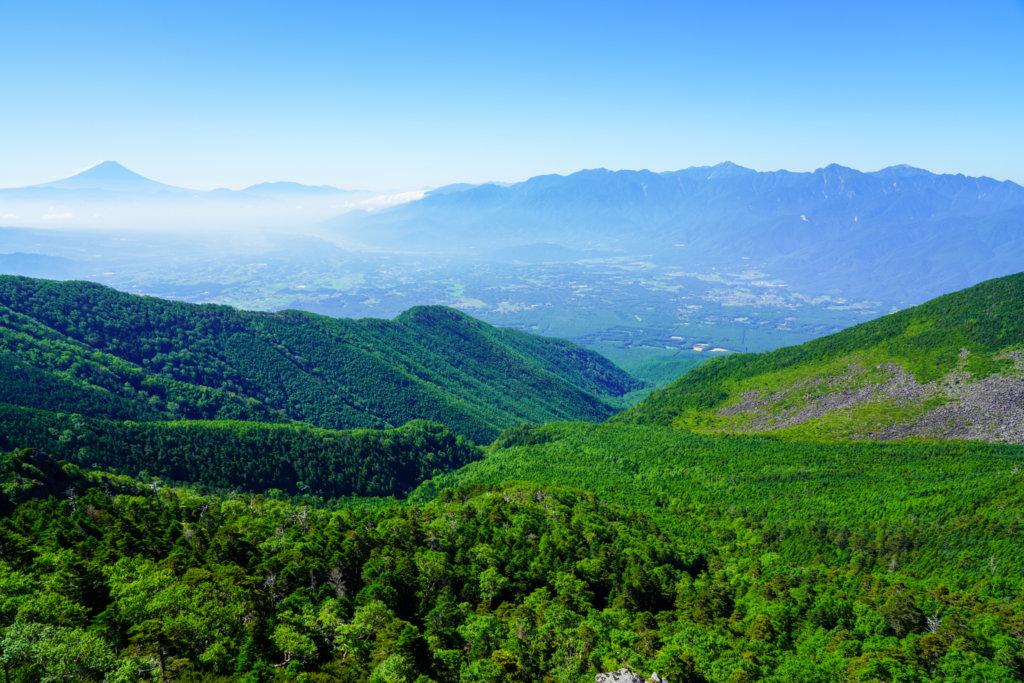 編笠山・権現岳・三ツ頭・富士山と南アルプス