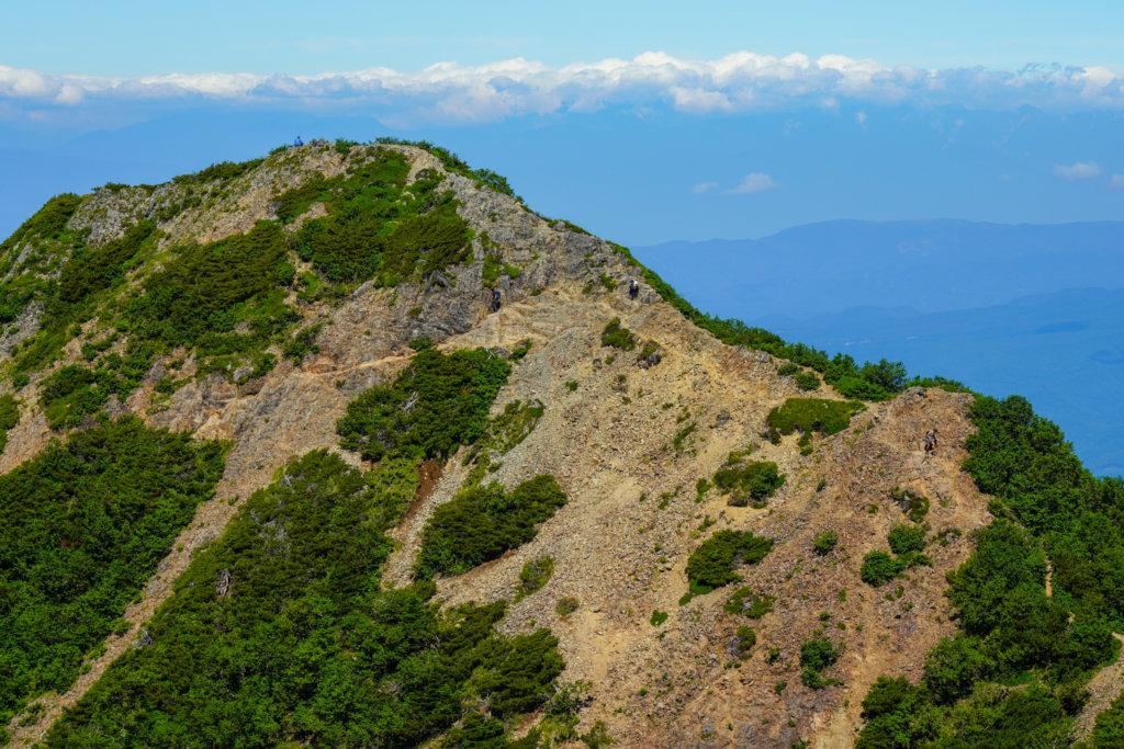 編笠山・権現岳・三ツ頭・山頂から見た東ギボシ