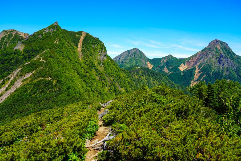 編笠山・権現岳・三ツ頭・三ツ頭山頂から見た権現岳、阿弥陀岳、中岳、赤岳